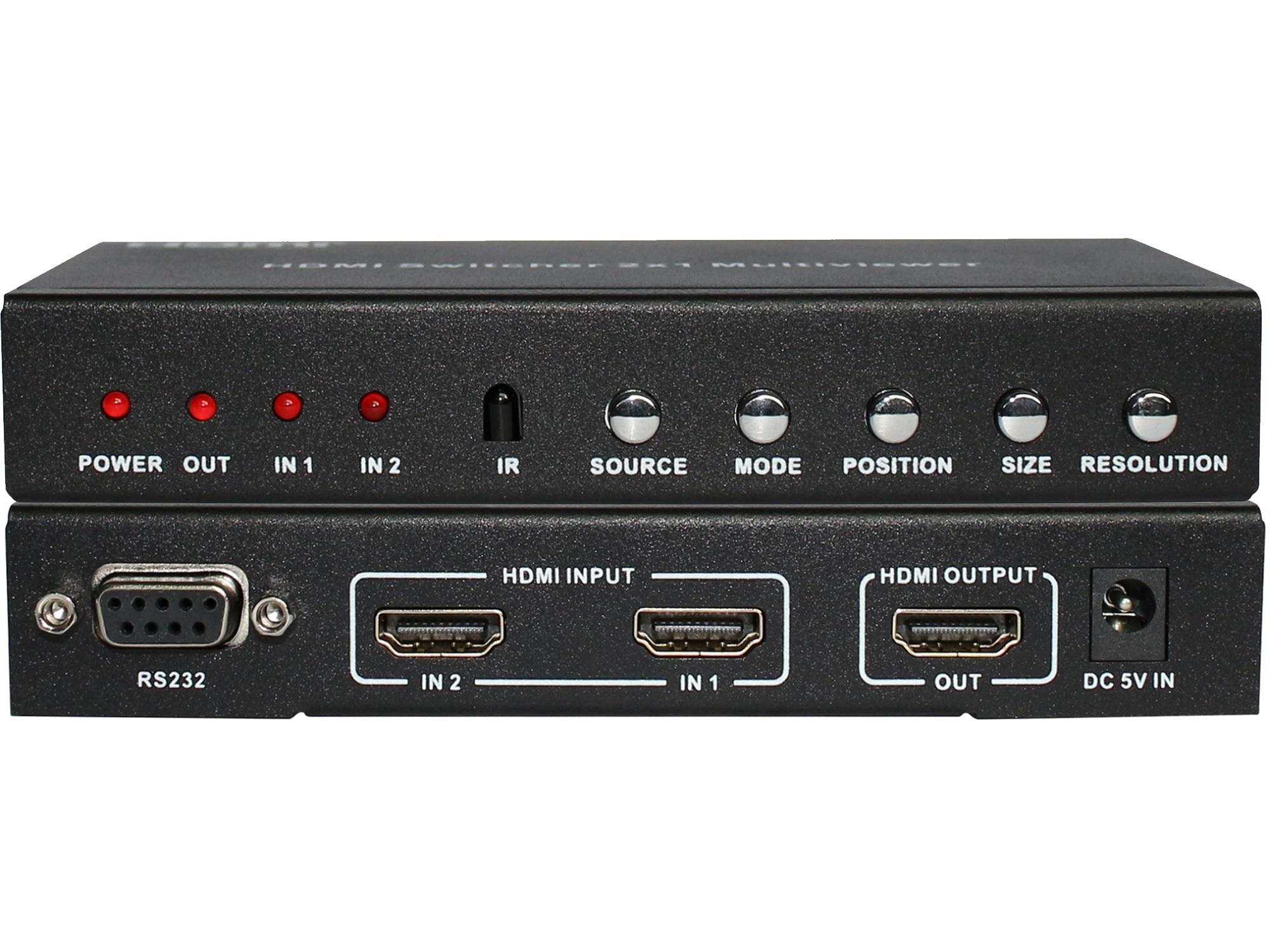 Ultra HD HDMI Splitter 2x1 Multi-Viewer with PIP High Definition resolution 10W